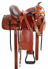 Premium Leather Pleasure Trail Saddle Western Riding Seat All Purpose Set 13 in""