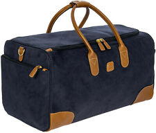 BRIC'S LIFE large resistant blue fabric travel week end duffle bag suede effect