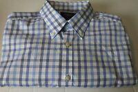 Charles Tyrwhitt Non Iron Extra Slim Fit Blue Plaid Button Down Shirt Medium