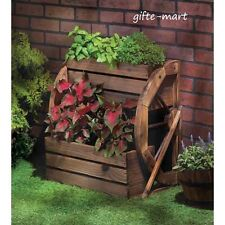 WOOD Wagon Wheel country 2 tier raised garden window box plant pot Planter yard