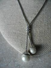 Brighton silver plated lariat fashion necklaces pendants ebay brighton twist pearl lariat necklace 16 18 n386 mozeypictures Images