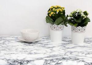 LUXURY PLAIN OFF WHITE GREY GRANITE MARBLE EFFECT PVC VINYL TABLE CLOTH COVER