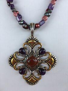 Carolyn Pollack Relios Vint. S.S. Brass Copper Pend. Enhancer & CP Bead Necklace