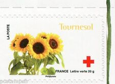 FRANCE 2014, timbre CROIX ROUGE AUTOADHESIF FLEURS, TOURNESOL, neuf**, FLOWERS