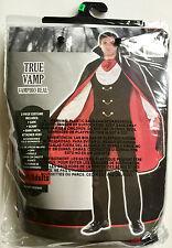 TRUE VAMPIRE COUNT DRACULA ADULT MED. HALLOWEEN COSTUME w/ CAPE SHIRT VEST & WIG