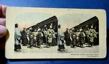 FOTO CARTONATA STEREOSCOPICA - WOUNDED SOLDIERS RETURNING TO JAPAN MANCHURIA