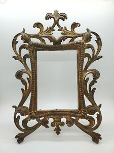 Antique Victorian Cast Iron Gold Gilded Easel Picture Frame 1860s-1880s