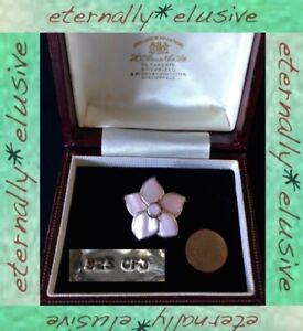 925 CFJ Hallmarked Signed Designer Sterling Silver MOP Flower Floral Brooch Pin