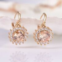Lady Party Round Cut Champagne Cubic Zirconia Gemstone Gold Dangle Earrings 0.6""