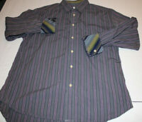 Robert Graham MEN Purple STRIPE FLIP CUFF LONG SLEEVE Shirt XL
