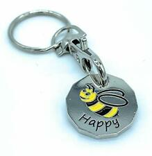 Bee Happy 12 Sided Bumble Bee Trolley Token Keyring Coin Good Quality Key Ring