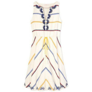 Tory Burch Blaine New Ivory Deck Stripe Embroidered Tasseled Colorful Dress Sz 6