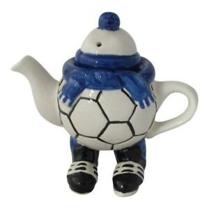 Walking Footballer Blue Colour Teapot by Carters of Suffolk.