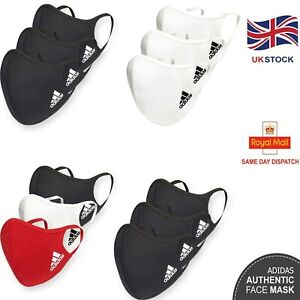 Adidas Face Mask Reusable Washable UK Masks Mouth Nose Breathable Cover 3 Pack