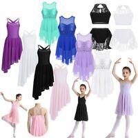 UK Girls Lyrical Ballet Dance Dress Sequined Leotard Gymnastics Dancewear 2Pcs