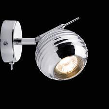 Retro Kugelkopf Wandleuchte Chrom 40W Rondell Halogen Strahler Wandspot Lampe