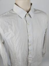 Express Men's Fitted White Striped L/S Button Down Dress Shirt Size M 15-15 1/2