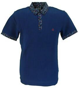 Merc London Navy Paisley Trim Polo Shirt