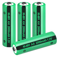 AA Rechargeable Battery 1.2v 2000mAh for Solar Power Lights NiMH Button Top 4pcs