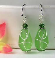 SEA GLASS Teardrop Green Loop Swirl SILVER Dangle Earrings USA HANDMADE