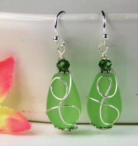 SEA GLASS Teardrop Green Loop Swirl SILVER Dangle Earrings, Artisan Made
