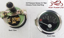 VINTAGE CAR Geep 12v electrical 0-7Bar Oil pressure CHROME DIAL Gauge Meter-M615