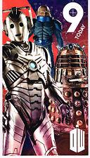 DR WHO - 9 ans Today Joyeux 9th Anniversaire Bleu Tardis Carte Daleks Cybermen