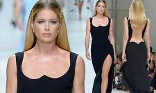 VERSACE Runway Sexy Neckline Open Back Mesh Panel Black Evening Dress Gown IT 46