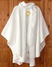 Damen Alpaka Poncho elegant: creme weiss Cape mit Schal, weich leicht warm, Peru
