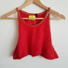 Topshop Red Fluffy Angora Gold Chain Sleeveless Under Boob Short Crop Top AU 12