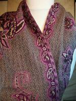 TUCH Schal 185 cm Braun REINE WOLLE ✿ Purple Flower ✿ Halstuch Foulard Scarf