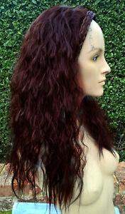 dark wine red wavy curly frizzy puffy 3/4 half head long hair wig fancydress