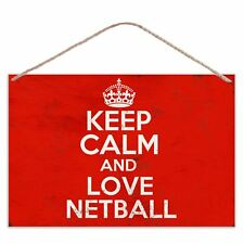 Keep Calm And Love Netball - Vintage Look Metal Large Plaque Sign 30x20cm