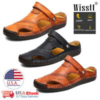 Size 7-13 Mens Brown Leather Safety Closed Toe Outdoors Sandals Casual Shoes