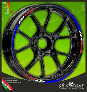 Adhesive Strips Rims Wheels Motorcycle Yamaha Tricolour Blue White Red