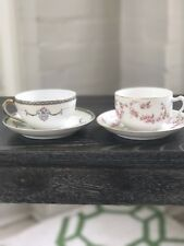 💐Lot - 2 Vintage Mismatched China Tea Cups and Saucers by Noritake and TK Thun.
