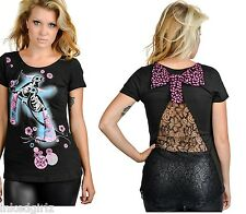 NWT Too Fast Modern Lover Shirt Skeleton Bird Top Black Lace Polka Dot Bow Small