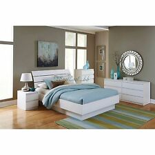 5 Piece White Queen Size Platform Bed Bedroom Furniture Collection Set Home