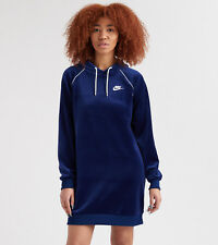 Nike Sportswear Women's Velour Hooded Dress M Blue White Hoodie Long Sleeve