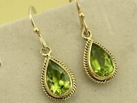 E089 Timeless Beauty Genuine 9ct Solid Gold NATURAL Peridot Drop Earrings Dangle