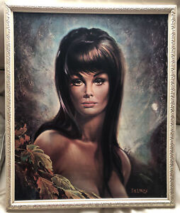 """Kitsch Retro Lady Portrait: """"Autumn Leaves"""" Painting Framed Signed By J.H. Lynch"""