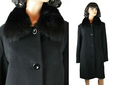 Fox Fur Collar Winter Coat Sz 14 L Forecaster Black Soft Wool Knee Length Jacket