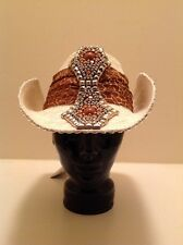 """Western Cowgirl """"Whittall & Shon"""" White With Silver Studs & Giraffe Print Band"""