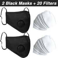 2 Face Masks with Valves with 20 Filters Reusable Face Mouth Mask Covering