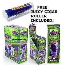 "BOX 25 PKS - JUICY Flavored HEMP WRAPS - ""GRAPES GONE WILD"" + FREE CIGAR ROLLER"