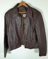 Vintage Jean Pierre Brown Leather Jacket Cafe Racer Men Large 44 MOD Biker 70s