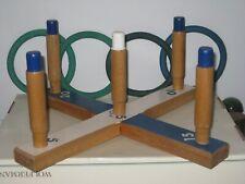 MID CENTURY Vintage SPORTCRAFT RING TOSS Game Set Wood 4 Hoop Indoor COMPLETE