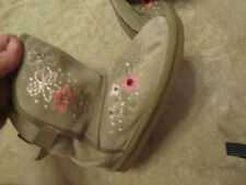 Girls Brown Suede Pink Floral Embroidered Faux Fur Lined Boots in Size 1
