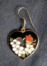 Lovely Single Enamel Floral Heart Earring / Pendant