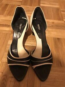 DKNY White And Black Heels US7 1/2 or uk 4 1/2
